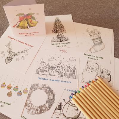PDF čb vianočné pohľadnice - omaľovánka