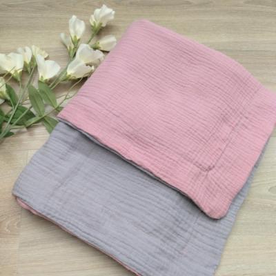 Obojstranná mušelínová deka sivo ružová