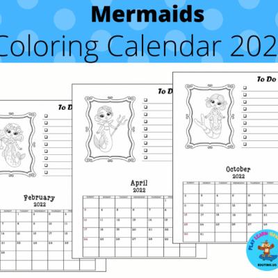 Mermaids - coloring calendar 2022