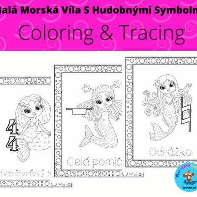 Malá Morská Víla - coloring - tracing