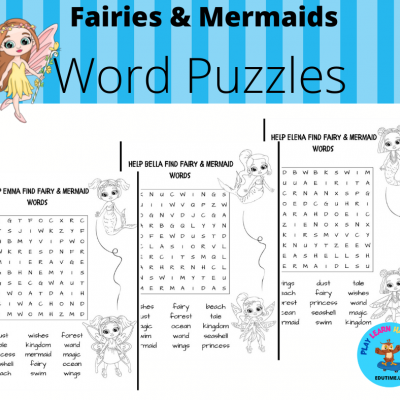 Fairies & Mermaids - word puzzles