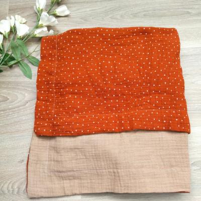Obojstranná mušelínová deka béžovo hrdzavá