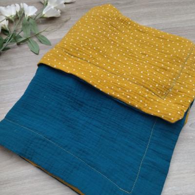 Obojstranná mušelínová deka horčičovo petrolejová