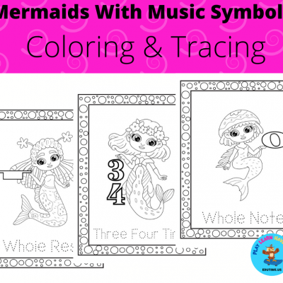 Mermaids With Music Symbols - coloring&tracing