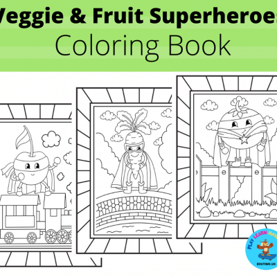 Veggie & Fruit Superheroes - omaľovanky